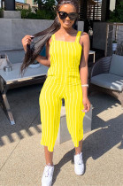 Yellow Stripes Strap Cropped Bottom Jumpsuit MR2020
