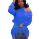 Blue Personality Warm Ladies Solid Color Back Cross Short Dress LY5802