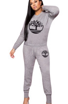 Gray Pattern Print Round Neck Sport Pants Set W8255