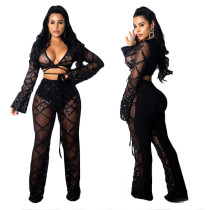 Sequin Mesh Checks Outfits Bandage Top Flare Pants MY9284