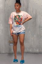 Pink Casual Polyester Tie Dye Cartoon Graphic Short Sleeve Round Neck Tee Top TRS1029