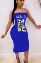 Blue Sexy Polyester Letter Sleeveless Split Hem High Waist Tube Dress SH7191