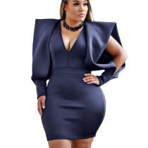 Dark Blue Office Ladies V Collar Solid Color Dew Arm Sleeves Wrap Dress YX9165