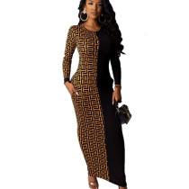 Black Wholesale Price Ladies Printed Splicing Ankle Length Dress YMT6118