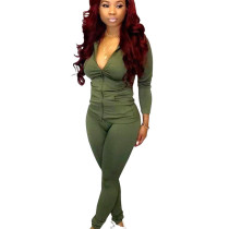 Army Green Outdoor Slim Bodycon Solid Outfits Zipper Coat Pencil Pants Q388