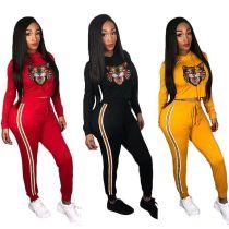 Leisure Sport Outfits Women Hoodie Skinny Pants F8175