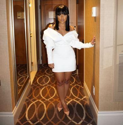 Sexy Cheap Ladies White Strapless Wrap Dress W8150