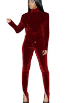 Wine Red Nylon High Neck Self-tied Pants Set with Split leg TK6058