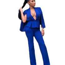 Blue Slim Winter Business Sets V Collar Short Coat Straight Pants N9060
