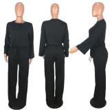Office Ladies Outfits Elastic Waist T-Shirt Wide Leg Pants OMM1022