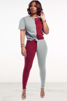 Two Tones Red&Gray Front Tied Pants Set DN8364