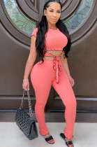 Pink Casual Short Sleeve Round Neck Wavy Ruffles Tee Top Long Pants Sets CM753