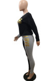 Wine Red Casual Polyester Letter Long Sleeve Round Neck Spliced Tee Top Long Pants Sets BBN033