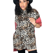 Leopard Pattern Print Pink Short Sleeves Knee Length Mini T shirt dress DN8338