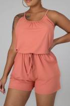 Orange Casual Polyester Sleeveless Round Neck Knotted Strap Cami Jumpsuit LML114