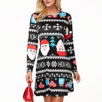 Chrismas Pattern Fleece Long Sleeve Lovely Lady Midi Dress F8173