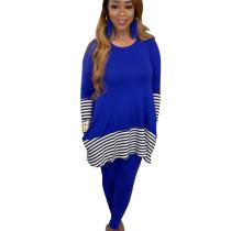 Blue Female Leisurewear Striped Patchwork Long T-Shirt Solid Pants ALS143