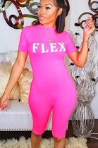 Pink Letter Print Bodycon Casual Short Sets KDN1152
