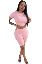 Pink Casual Letter Short Sleeve Round Neck Tee Top Shorts Sets F8283