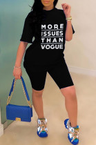 Black Casual Polyester Letter Short Sleeve Round Neck Tee Top Shorts Sets YSS8015