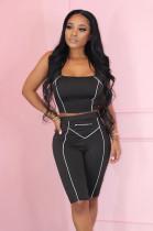 Black Stripes Details Crop Tank Top & Short Pants Set WY6641