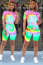 Mulit Casual Cartoon Graphic Short Sleeve Round Neck Tee Top Shorts Sets SDE0523
