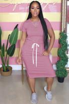 Pink Casual Short Sleeve Round Neck Split Hem Drawstring Waist Shift Dress AL092