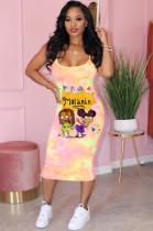 Pink Casual Polyester Tie Dye Cartoon Graphic Sleeveless Slip Dress BM7063