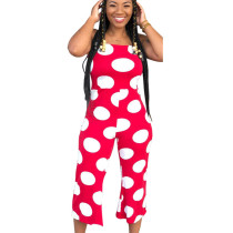 Red Polka Dot Strapy Wide Leg Jumpsuits X9004
