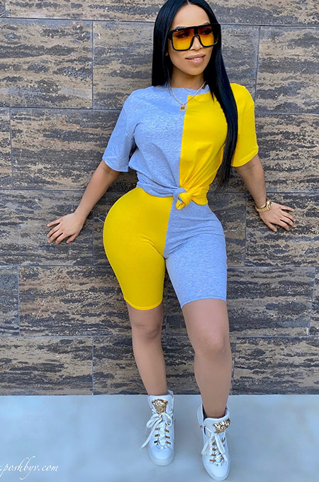 Blue & Yellow Front Self Tied Short Sets AA5140