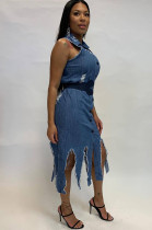 Off Shoulder Tassel Trim Slit Hem Distressed Skirt Dress HHM6163