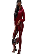 Wine Red Hooded blouse with front logo print & side stripe print pants set D8335