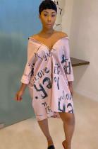 Pink Letter Print V Neck Skirt Dress TZ10872