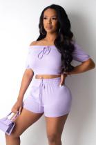 Purple Shirred Details Crop Top & Short Pants Set CY1222