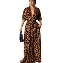 New Arrival Leopard Print Women Half Sleeved Floor Length Dress QQM3893
