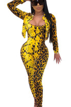 Yellow Pokal Dot Leopard Pattern Print Double Collar Jacket with Jumpsut Set WJ5081