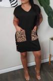 Pink Casual Polyester Leopard Short Sleeve V Neck Shift Dress KZ143