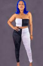 Black & White Bandeau Top & Bodycon Pants Sets LYY9236