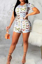 Casual Polyester Paper Graphic Short Sleeve Round Neck Tee Top Shorts Sets SMR9640