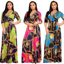 Casual Colorful Print Chiffon Maxi Long Dress TRS913