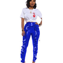 Blue All-Match Women High Waist Pu Leather Ruffle Bodycon Pants TRS993