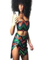 Colorful strapeless off shoulder blouse and side slit dress set QZ5266
