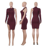Wine Red One Shoulder Side Slit Mini Dress NK095