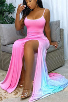 Pink Sexy Polyester Sleeveless Square Neck Spaghetti Strap Open Back Split Hem High Waist Long Dress SH7201