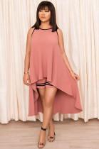 Pink Stripe Hem Drop Top & Bodycon Short Pants F8265