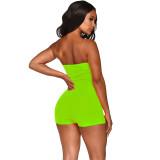 Green Stylish Zip Up Slim Dew Shoulder Short Jumpsuit XZ3259