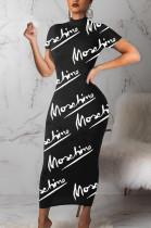 Black Casual Polyester Letter Short Sleeve Round Neck Mid Waist Long Dress BM7053