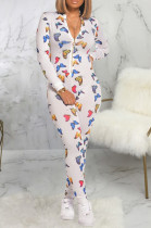 Multi Sexy Polyester Butterfly Graphic Long Sleeve Deep V Neck Bodycon Jumpsuit SMR9633