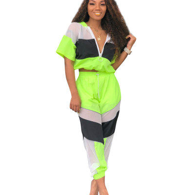 Yellow Summer Mesh Color Block Zipper Sports Outfits OEP6002
