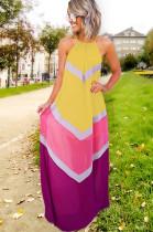 Yellow Strapless Back Eyehole Opened Loose Long Dress JLX7001
